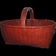 Antique 19th century American Hand Woven Paint Decorated Splint Basket