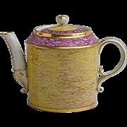 Antique 18th century Chanou Old Paris Porcelain Tea Pot Decorated to Imitate Stone