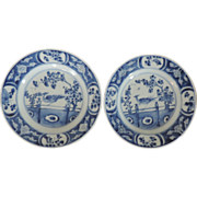 Pair Antique 18th century Chinese Kangxi Blue & White Porcelain Plates with Peacock