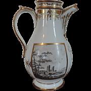 Large Antique 18th century Paris Porcelain Chocolate Pot Decorated with Landscape Panels Painted en Grisaille