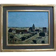 Roland Oudot French Oil Painting on Board of a Country Landscape