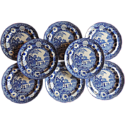 Set Eight Antique Early 19th century Rogers Blue & White Transfer Plates in the Chinese Zebra Pattern 1820