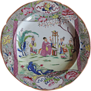 Antique Early 19th c. Mason's Ironstone China Salad or Cake Plate Chinese Pink Scroll
