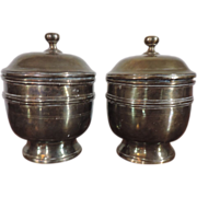 Pair Antique 18th century English Brass Urns with Covers