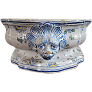 Large Antique 19th century French Faience Tin Glazed Centerpiece Plateau Bowl with Lion Mask Handles