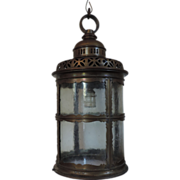Antique Round Bronze & Glass Hall Lantern - Early 20th century