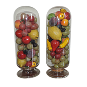 Pair Antique 19th century Victorian Wax and Papier Mache Fruit Pyramids in Glass Domes with Original Cork Stoppers