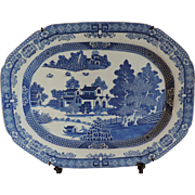 Large Antique Early 19th century English Staffordshire Blue and White Platter in the Chinese Taste