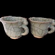 Pair Antique 19th century Chinese Porcelain Ge Ware Celadon Crackle Glaze Foliate Libation Wine Cups