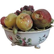 Antique 18th century French Faience Tin Glaze Pottery Veuve Perrin Tromp L'oeil Fruit Bowl Sculpture Centerpiece