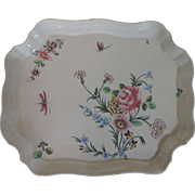 Antique Late 18th / Early 19th century French Faience Tin Glaze Pottery Veuve Perrin Tray or Platter