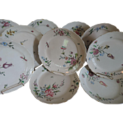 Set Ten Antique 18th century French Faience Tin Glaze Pottery Veuve Perrin Dinner Plates