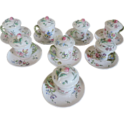 Set Eight Antique Veuve Perrin French Faience Tin Glaze Pottery Tea Cups with Lids & Saucers or Pot de Creme 19th century