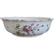 Antique 18th century French Faience Tin Glaze Pottery Veuve Perrin Fruit or Vegetable Serving Bowl