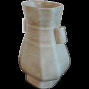 Antique 19th century Chinese Hu Shaped Porcelain Vase with Crackle Glaze on Celadon Ground