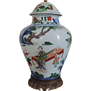 Antique 19th century Chinese Porcelain Wucai Jar & Cover as Lamp