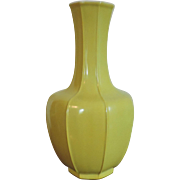 Large Chinese Art Deco Monochrome Yellow Porcelain Bottle Shaped Vase with Octagonal Ribs