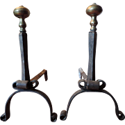 Pair Antique 18th century American Queen Anne Colonial Wrought Iron & Brass Andirons for the Fireplace Hearth