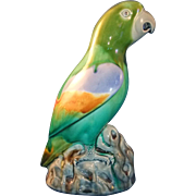Antique Late 19th century Minton Majolica Pottery Drip Glazed Parrot in the Chinese Kangxi Taste