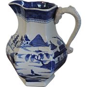 Antique early 19th century Mason's Patent Ironstone China Pitcher or Jug in the Blue Chinese Canton Pattern