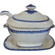 Early 19th century Pearlware Blue Feather Edge Sauce Tureen and Under Tray with Ladle 1800