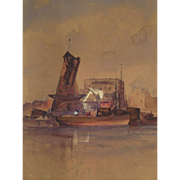 American Ash Can School Watercolor Depicting the East River, New York City, Early 20th century Attributed to Robert Henri (1865 - 1929)