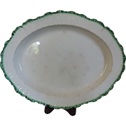 Antique 18th century English Pearlware Green Feather Edge Oval Platter