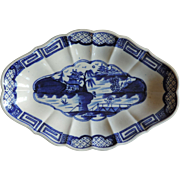 Antique 18th century English Worcester Caughley Porcelain Blue & White Dessert Dish in the Chinese Taste 1785 - 1790