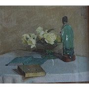 Small 1930 Art Deco Still Life Oil Painting of a Chinese Porcelain Figure, White Roses and Books Signed Boyd Waters