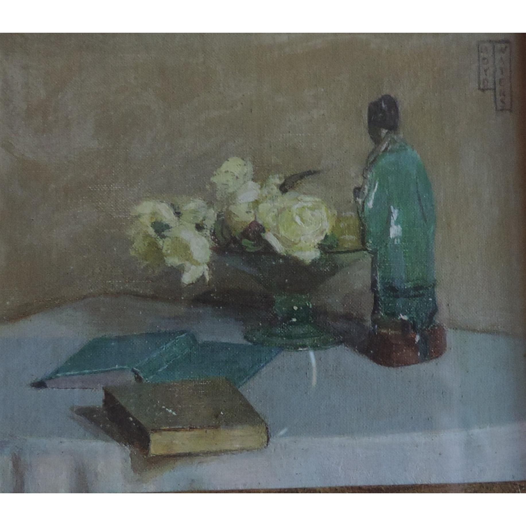 Small 1930 Art Deco Still Life Oil Painting Of A Chinese Porcelain From Classictradition On Ruby