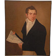 Early 19th century New York State Portrait of a Gentleman Holding a Letter American Federal Oil on Canvas In Period Gilt Wood Frame