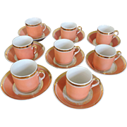 Set 8 Antique Early 19th century Old Paris Porcelain Coffee Cans Tea Cups and Saucers 1810