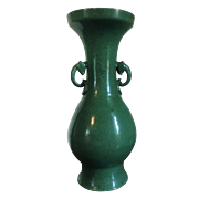 Large Antique 19th century Chinese Monochrome Porcelain Palace Floor Vase with Green Crackle Glaze and Celadon Interior