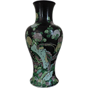 Large Antique 18th century Chinese Famille Noir Porcelain Baluster Shaped Vase