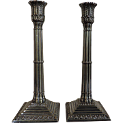 Pair Antique Early 19th century Georgian Old Sheffield Silver on Copper Tall Candlesticks in the Neoclassical Taste