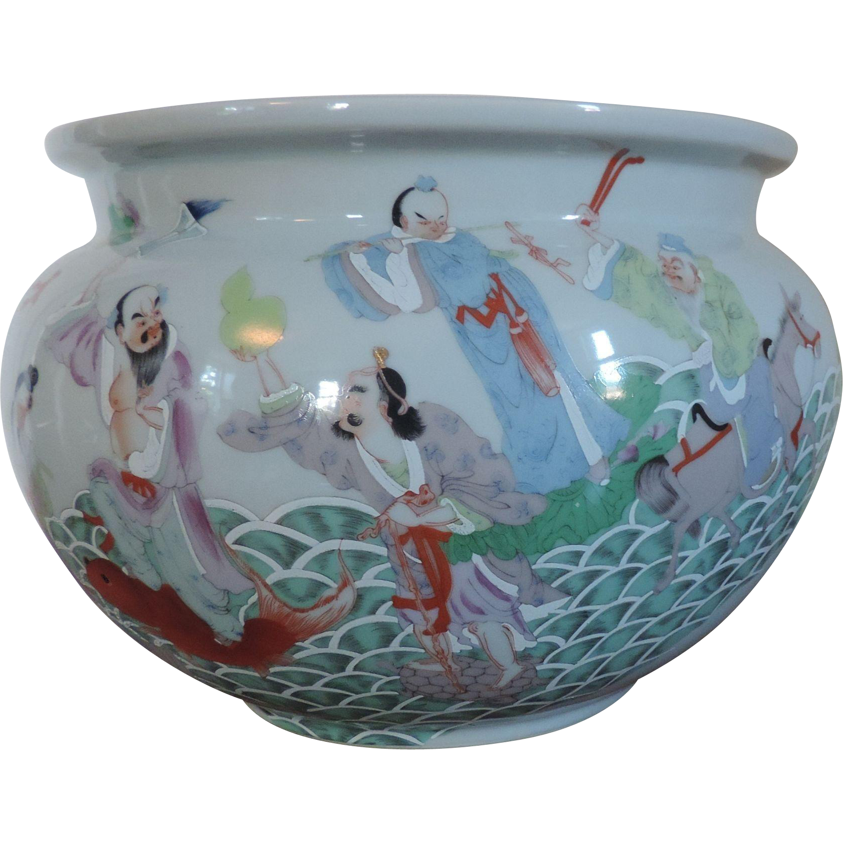 Large antique chinese porcelain fish bowl or planter for Chinese fish bowl planter