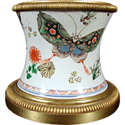 Antique 18th century Kangxi Period Chinese Porcelain Brush Pot Decorated in Famille Verte Palette with Butterflies and Mounted in French Gilt Bronze