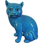 Antique 19th century Chinese Monochrome Turquoise Glazed Model of a Cat