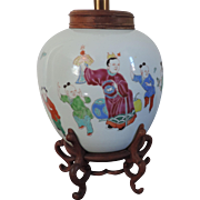 Antique 18th / 19th century Chinese Yongzheng Famille Rose Vase Mounted as a Lamp