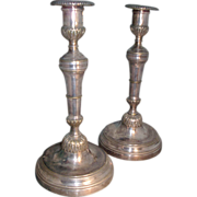 Antique Pair 19th century French Silvered Bronze Candlesticks in the Baroque Taste