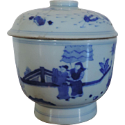 Antique 19th century Chinese Blue & White Porcelain Jar and Cover