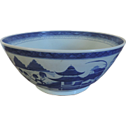 Early 20th c. Large Chinese Canton Blue & White Porcelain Punch Bowl