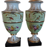 Pair Late 18th / Early 19th century Old Paris Porcelain Ornithological Urns