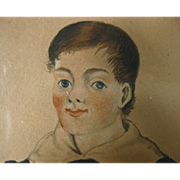 Early 19th c. American Federal Miniature Portrait in Ink and Watercolor