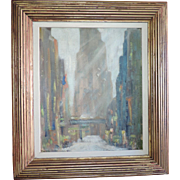 Pre War Art Deco Oil Painting on Board New York City Winter Street Scene in the Snow 1920 - 1940