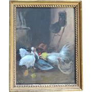 Early 20th century Oil Painting of a Chicken Coop with Hens and Roosters