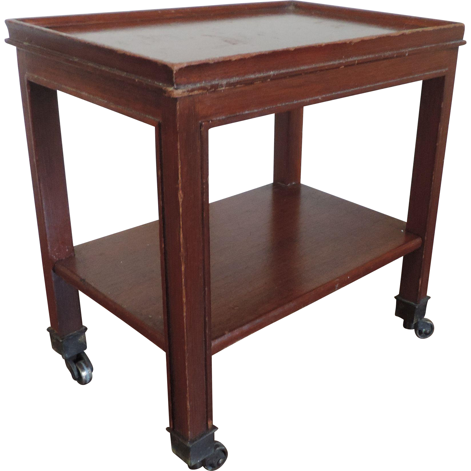 Small Mahogany Two Tier Occasional Side Table or Caddy on Casters