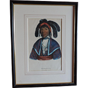 McKenney & Hall Hand Colored Print of Native American Indian Micanopy A Seminole Chief 1840 - 1850