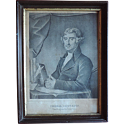 Antique Early 19th century American Black & White Portrait Print of President Thomas Jefferson