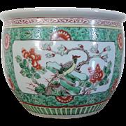 Antique 19th century Chinese Porcelain Famille Verte Fish Bowl Planter